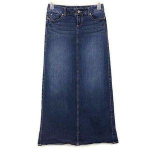 Maurices Dark Wash Long Jean Skirt E25